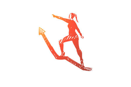 Leader, boss, director vector concept. Woman climbing up arrow. Hand drawn sketch isolated illustration