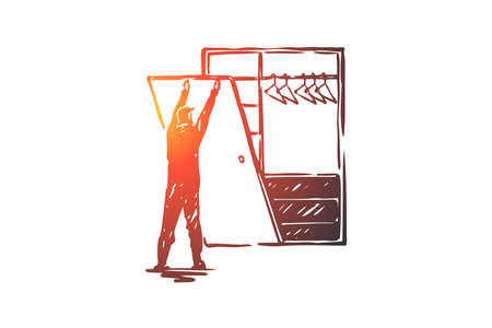 Custom, built-in, construction, work, create concept. Hand drawn man making cupboard concept sketch. Isolated vector illustration. 向量圖像