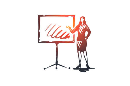Presentation, woman, board, graphic, job concept. Hand drawn female manager making report concept sketch. Isolated vector illustration.