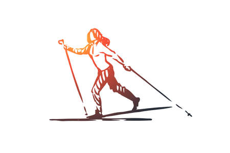 Cross, country, skiing, winter, sport concept. Hand drawn female skier with equipment concept sketch. Isolated vector illustration.
