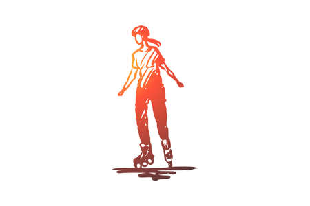 Rollers, skate, sport, activity, girl concept. Hand drawn woman rollerblading concept sketch. Isolated vector illustration. Illustration