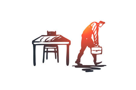 Late, work, manager, job, busy concept. Hand drawn tired worker leaving office too late concept sketch. Isolated vector illustration. Stockfoto - 126864029