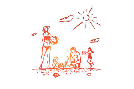 Family, rest, beach, summer, vacation concept. Hand drawn parents and children have fun on the beach concept sketch. Isolated vector illustration.