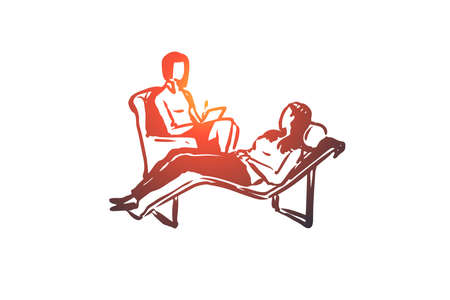 Psychologist, couch, client, therapy, problem concept. Hand drawn client at the reception of a psychologist concept sketch. Isolated vector illustration. Vektorové ilustrace