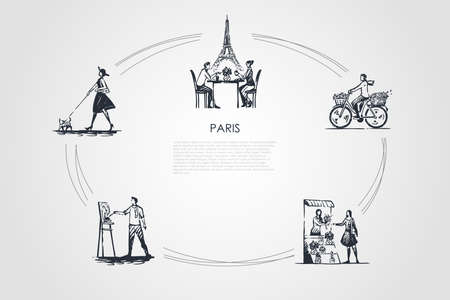 Paris - people riding bicycle, drinking coffee with Eiffel towel behind, painting, buying flowers, walking dog vector concept set. Hand drawn sketch isolated illustration