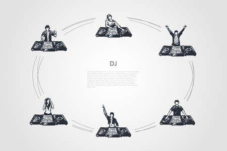DJ - DJ hommes et femmes dans des écouteurs jouant un ensemble de concepts vectoriels de musique. Illustration isolée de croquis dessinés à la main Vecteurs