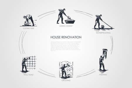 Rénovation de maison - coupe de carreaux, mélange de ciment, imperméabilisation, peinture, jointoiement, ensemble de concepts vectoriels pour carrelage mural. Illustration isolée de croquis dessinés à la main