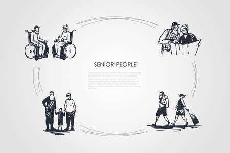 Senior people - old couples sitting on wheelchairs, reading newspaper, travelling and walking with grandchildren vector concept set. Hand drawn sketch isolated illustration