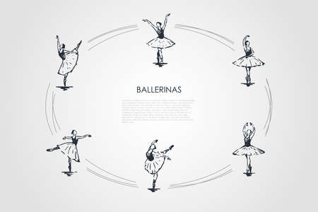 Ballerinas - women dancers wearing traditional ballet costume in different dancing poses vector concept set. Hand drawn sketch isolated illustration