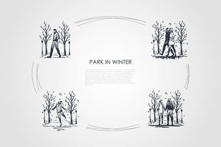 Park in winter - people walking in park in winter vector concept set. Hand drawn sketch isolated illustration
