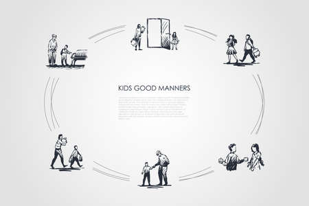 Kids good manners - boy helping girl to carry bag, giving piece of food, helping old people to walk, sit and carry bags vector concept set. Hand drawn sketch isolated illustration Illustration