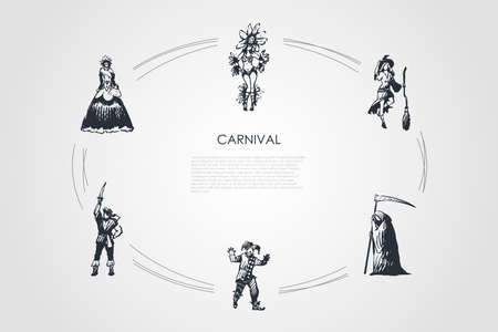 Carnival - people in different traditional costumes for special holidays vector concept set. Hand drawn sketch isolated illustration