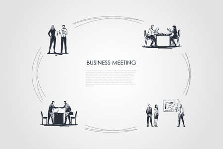 Business meeting - business people making presentations, negociating, making reports, communicating vector concept set. Hand drawn sketch isolated illustration Vector Illustration
