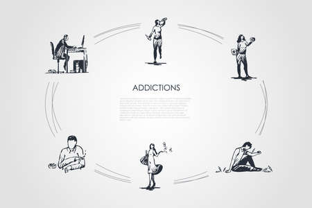 Addictions - smoking, alcoholism, drug addiction, fast food, coffee and spending money addicting vector concept set. Hand drawn sketch isolated illustration