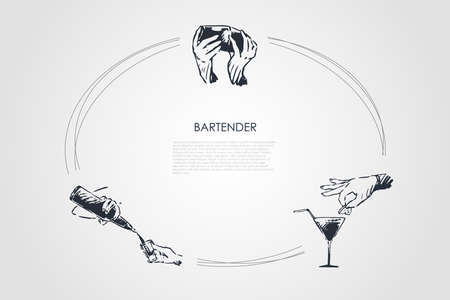 Bartender - hands of bartender shaking cocktail, putting lemon on glass, pouring drink from bottle vector concept set. Hand drawn sketch isolated illustration