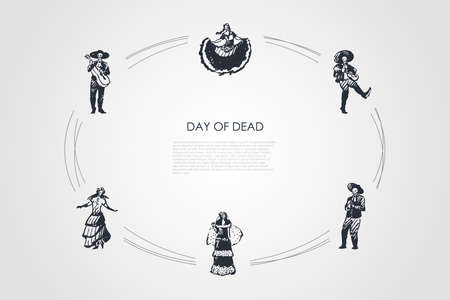 Day of dead - skeletons of dead people in costumes dancing and playing musical instruments vector concept set. Hand drawn sketch isolated illustration Illusztráció