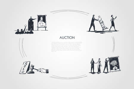 Auction - bidding, carrying artworks, hammering sale, art gallery vector concept set. Hand drawn sketch isolated illustration