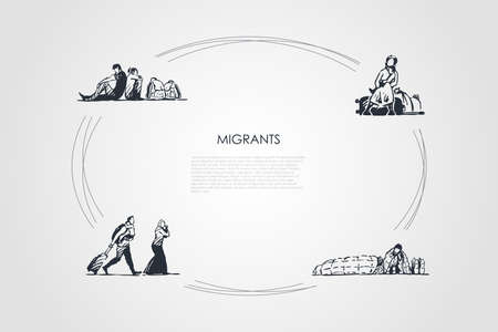 Migrants - people with bags migrating and sitting on streets vector concept set. Hand drawn sketch isolated illustration