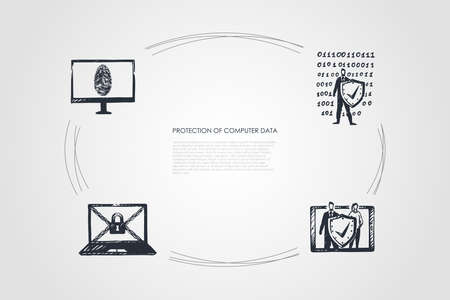 Protection of Computer Data - cipher, fingerprint, code, password vector concept set. Hand drawn sketch isolated illustration