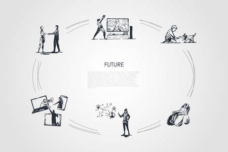 Future - boy playing with robot dog, woman having rest in cyber chair, people communication via internet, developing molecular and digital technologies vector concept set. Hand drawn sketch isolated illustration