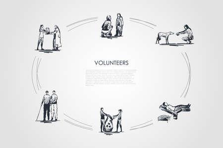 Freiwillige - Mädchen und Jungen helfen älteren und obdachlosen Menschen und Kindern, Hunden, spenden Blut und sammeln Müllvektorkonzepte. Handgezeichnete Skizze isolierte Illustration