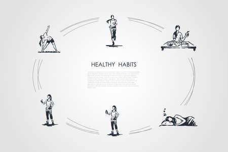Hábitos saludables: correr, comer alimentos saludables, dormir bien, hacer fitness y ejercicios conjunto de conceptos vectoriales. Ilustración aislada boceto dibujado a mano