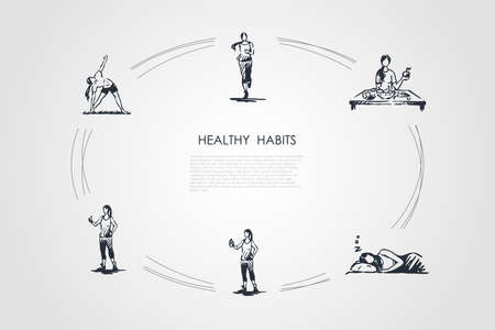 Healthy habits - running, eating healthy food, good sleeping, doing fitness and exercises vector concept set. Hand drawn sketch isolated illustration