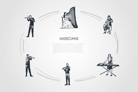 Musicians - violinist, harpist, cellist, xylophone player, flutist, bassoonist vector concept set. Hand drawn sketch isolated illustration