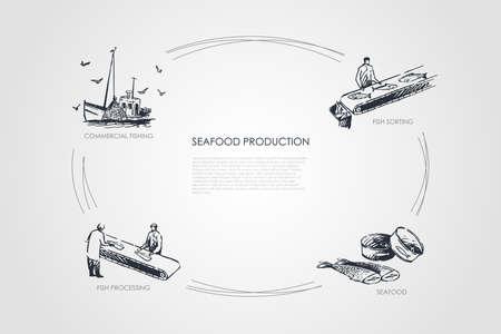 Production de fruits de mer - pêche commerciale, tri du poisson, fruits de mer, ensemble de concepts vectoriels de transformation du poisson. Illustration isolée de croquis dessinés à la main
