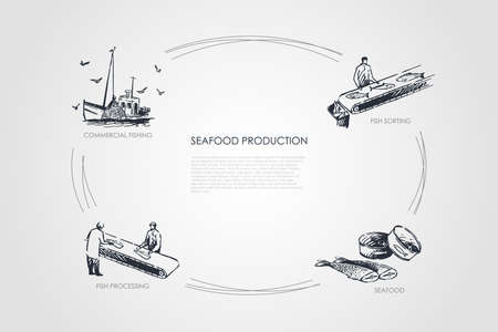 Seafood production - commercial fishing, fish sorting, seafood, fish processing vector concept set. Hand drawn sketch isolated illustration Illustration