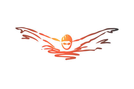 Swimming, butterfly, stroke, athlete, pool concept. Hand drawn man swimming butterfly in pool concept sketch. Isolated vector illustration.