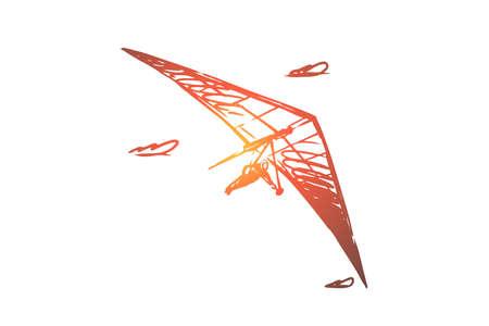 Deltaplane, extrême, ciel, sport, concept de vol. Homme dessiné à la main volant avec un croquis de concept de deltaplane. Illustration vectorielle isolée.