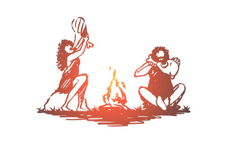Primitive, people, bonfire, caveman, ancient concept. Hand drawn primitive people eating near bonfire concept sketch. Isolated vector illustration. Vettoriali