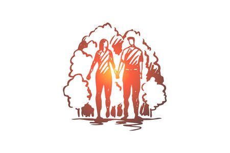 Man, woman, love, romantic, walk concept. Hand drawn young lovers hold hands and walk in park concept sketch. Isolated vector illustration.