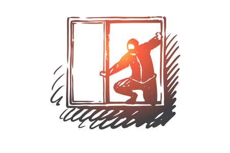 Burglary, window, robber, criminal, mask concept. Hand drawn robber in-house window concept sketch. Isolated vector illustration.