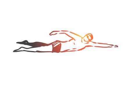 Natation crawl, sport, piscine, eau, concept actif. Homme dessiné à la main, nageant dans un croquis de concept de piscine. Illustration vectorielle isolée.