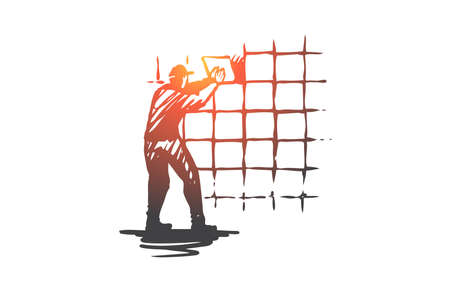 Wall tiling, house, repair, worker concept. Hand drawn worker doing repair with new tile concept sketch. Isolated vector illustration.