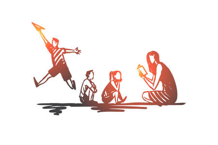 ADHD, kid, deficit, attention, hyperactivity concept. Hand drawn problem in behavior of child concept sketch. Isolated vector illustration.