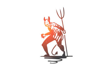 Halloween, monster, devil, scary, pitchfork concept. Hand drawn Halloween monster devil with pitchfork concept sketch. Isolated vector illustration.