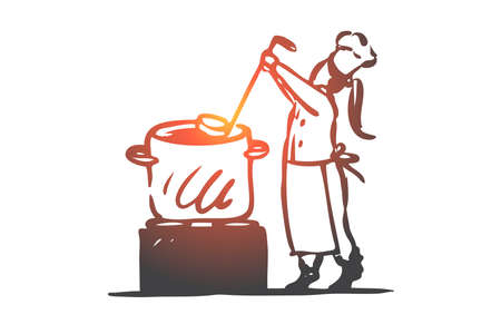 Girl, cooking, soup, pan, chef concept. Hand drawn little cook girl cooking soup concept sketch. Isolated vector illustration.