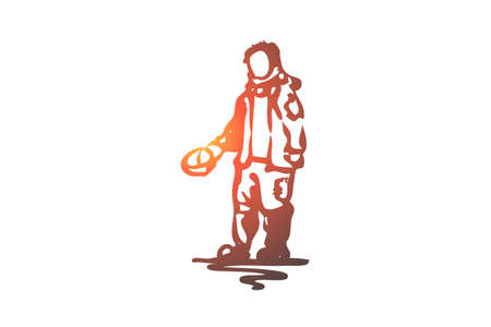 Beggar, poor, dirty, problem, tramp concept. Hand drawn beggar asking for money concept sketch. Isolated vector illustration.