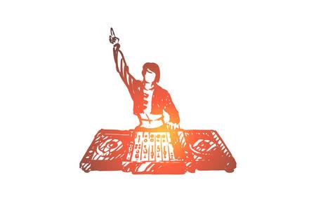 DJ, musica, club, discoteca, concetto di festa. Dj disegnato a mano nello schizzo del concetto di discoteca. Illustrazione vettoriale isolato.