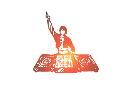 DJ, music, club, disco, party concept. Hand drawn DJ in nightclub concept sketch. Isolated vector illustration.