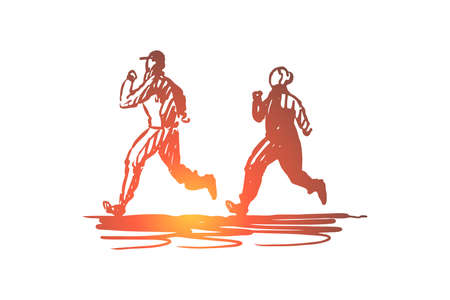 Woman, old, couple, running, sport concept. Hand drawn old sportive couple running concept sketch. Isolated vector illustration.