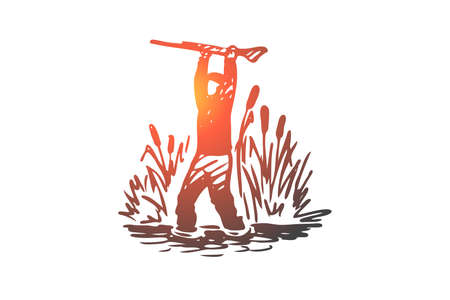 Hunting, sneaking, rifle, sport, weapon concept. Hand drawn hunter sneaks through the reeds concept sketch. Isolated vector illustration. Standard-Bild - 120160446