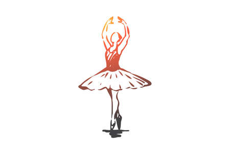 Ballerina, girl, dance, woman, art concept. Hand drawn ballerina in dance pose concept sketch. Isolated vector illustration.