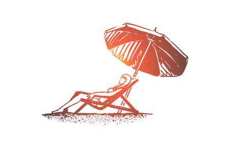 Beach, girl, summer, umbrella, sunbathe concept. Hand drawn young girl on the beach sunbathes under an umbrella concept sketch. Isolated vector illustration.