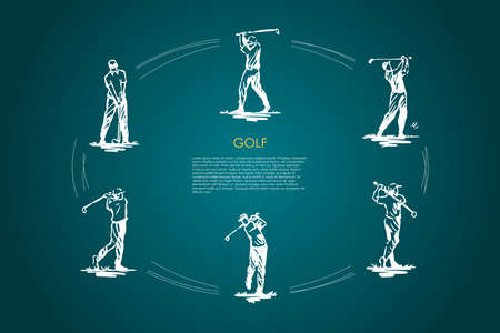 Golf - man with golf club in different active poses vector concept set. Hand drawn sketch isolated illustration