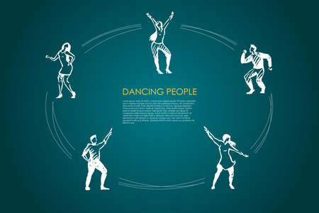 Dancing people - men and women in different dancing poses vector concept set. Hand drawn sketch isolated illustration