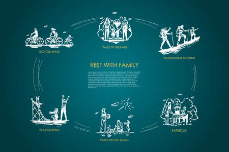 Rest with family - walk in park, bicycle walk, playground, barbecue, pedestrian tourism, rest on beach vector concept set. Hand drawn sketch isolated illustration